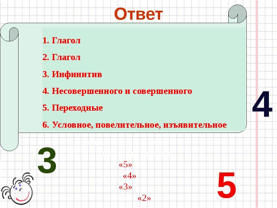 Ответ 1. Глагол 2. Глагол 3. Инфинитив 4. Несовершенного и совершенного 5. П...