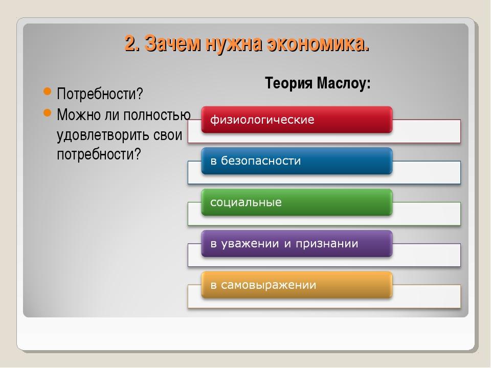 2. Зачем нужна экономика. Теория Маслоу: Потребности? Можно ли полностью удов...