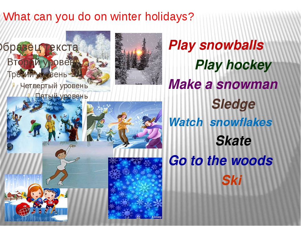 What can you do on winter holidays? Play snowballs Play hockey Make a snowman...