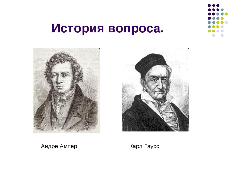 История вопроса. Андре Ампер Карл Гаусс