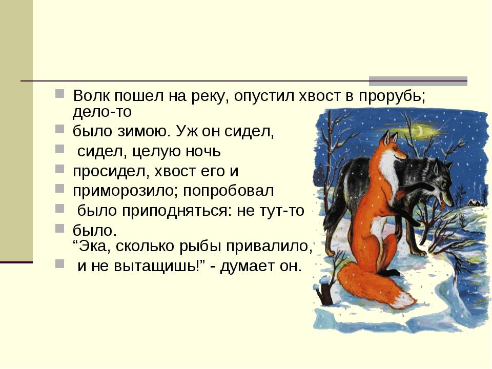 Волк пошел на реку, опустил хвост в прорубь; дело-то было зимою. Уж он сидел,...