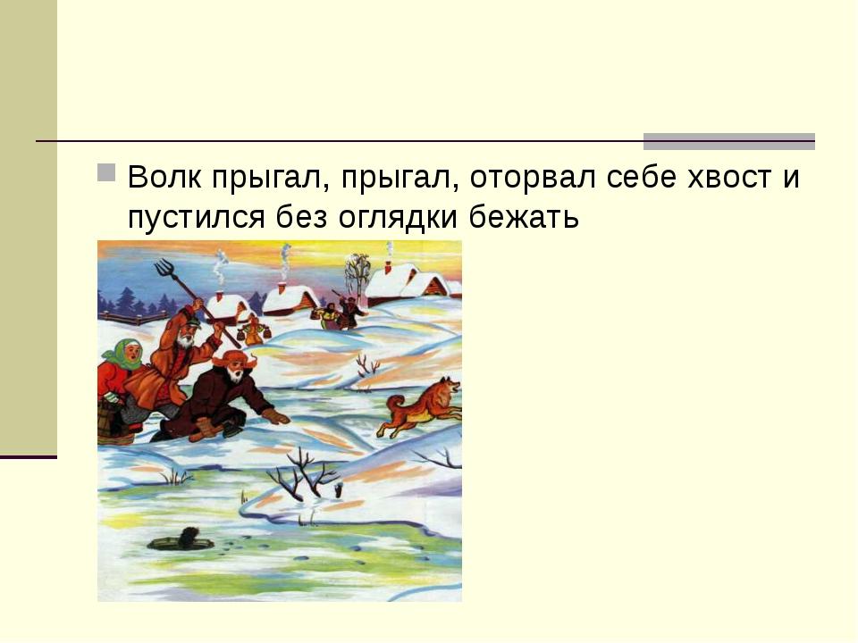 Волк прыгал, прыгал, оторвал себе хвост и пустился без оглядки бежать