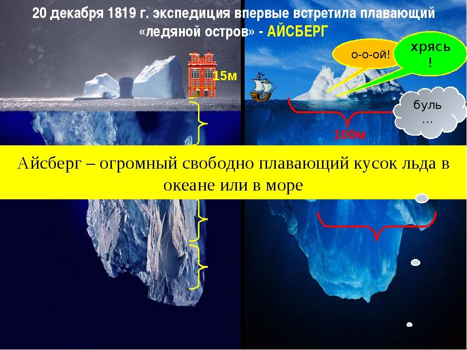20 декабря 1819 г. экспедиция впервые встретила плавающий «ледяной остров» -...