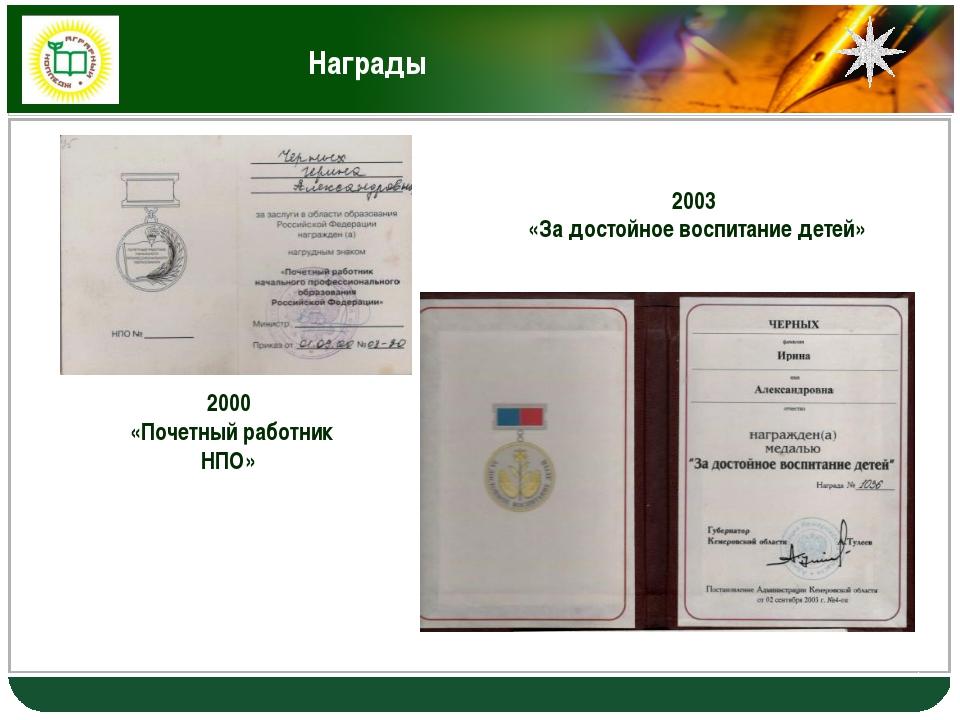Награды 2000 «Почетный работник НПО» 2003 «За достойное воспитание детей» LOGO