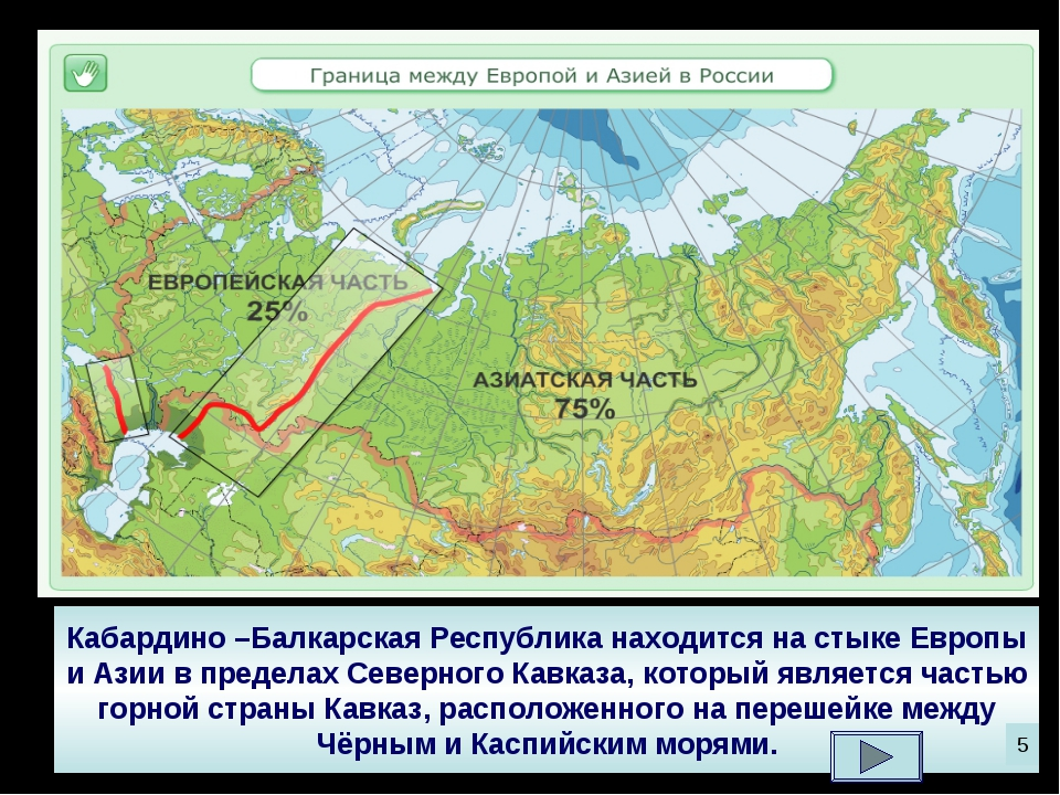 Кабардино –Балкарская Республика находится на стыке Европы и Азии в пределах...