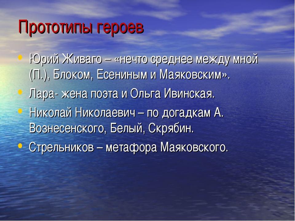 Прототипы героев Юрий Живаго – «нечто среднее между мной (П.), Блоком, Есенин...