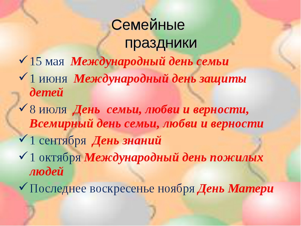15 мая Международный день семьи 1 июня Международный день защиты детей 8 июля...