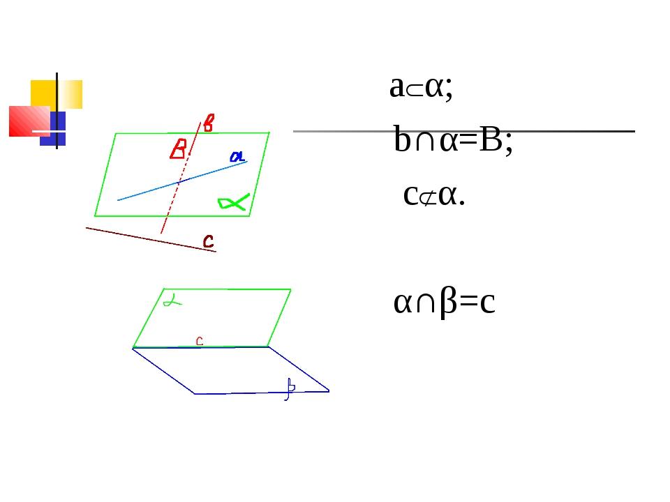 aα; b∩α=B; cα. α∩β=c