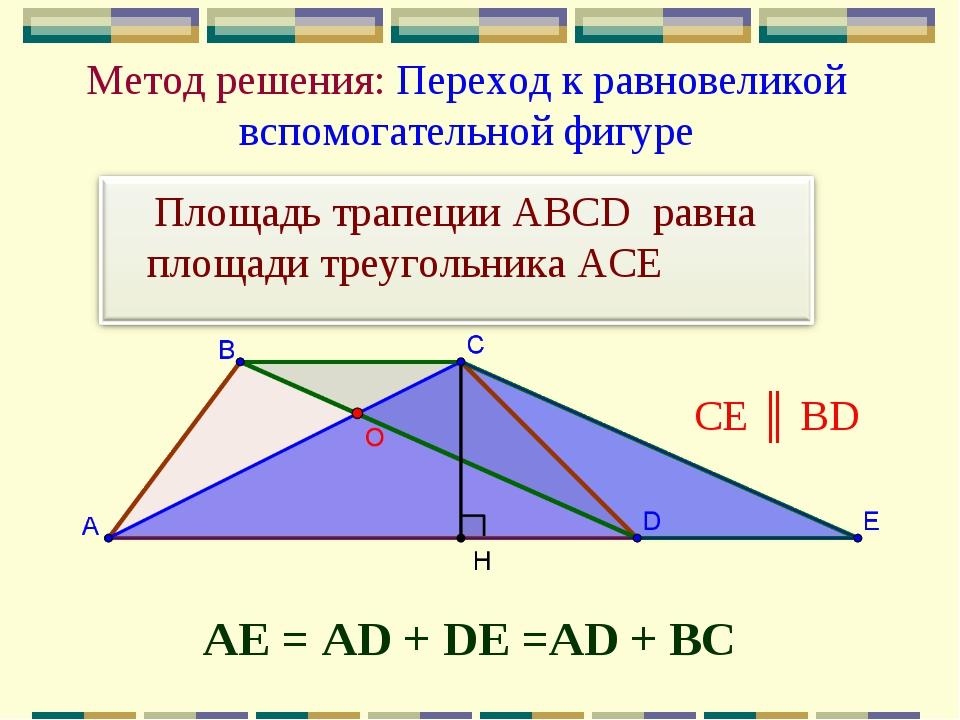 Метод решения: Переход к равновеликой вспомогательной фигуре АЕ = AD + DE =AD...