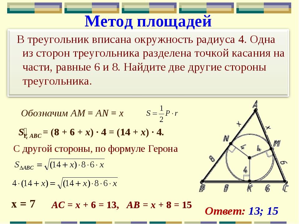 Метод площадей Обозначим AM=AN=x х = 7 S△ABC =(8+6+x) · 4=(14+x...