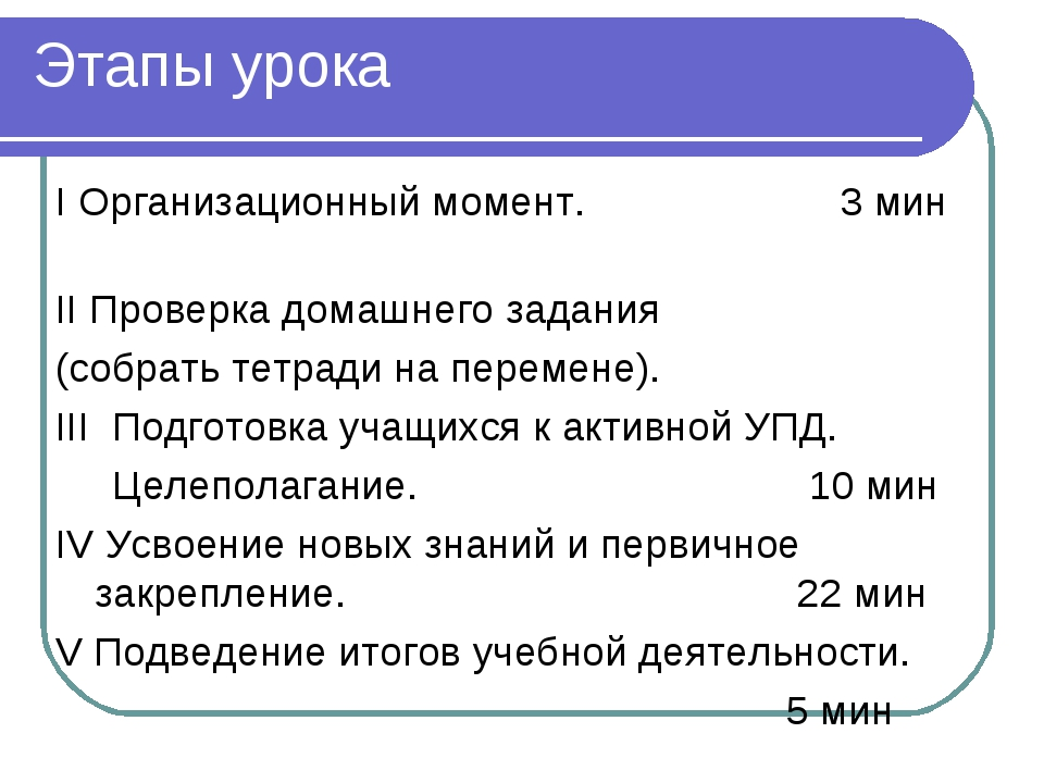 Этапы урока I Организационный момент.  3 мин II Проверка домашнего задания (...