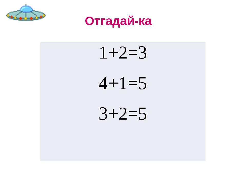Отгадай-ка 1+2=3 4+1=5 3+2=5