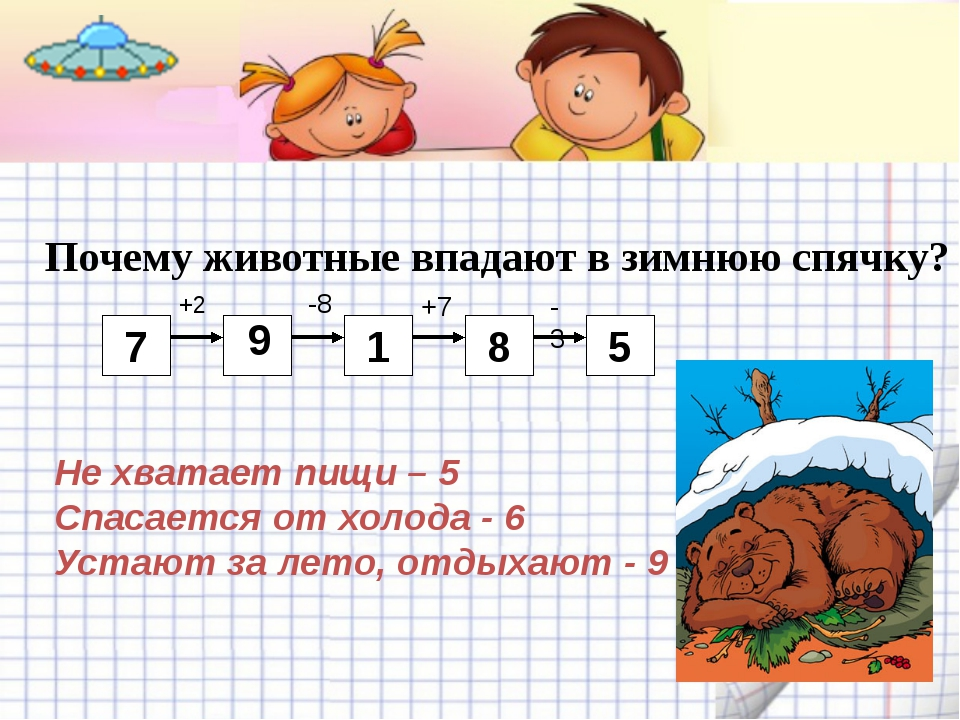 Почему животные впадают в зимнюю спячку? 7 +2 1 9 -8 8 +7 5 -3 Не хватает пищ...