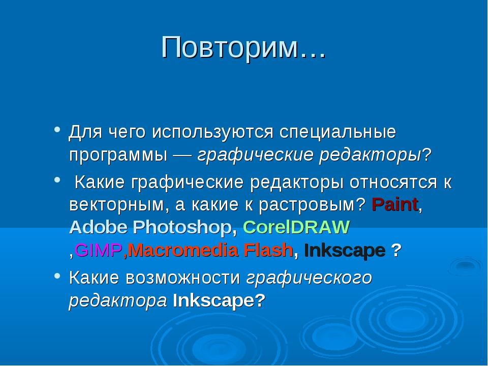 Повторим… Для чего используются специальные программы — графические редакторы...