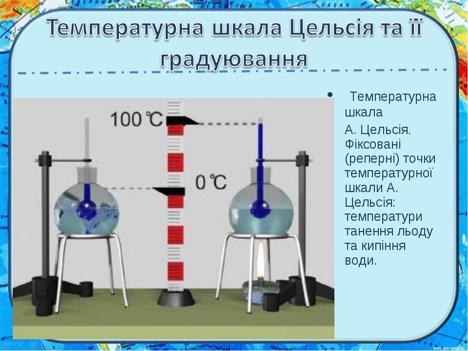 Температурна шкала А. Цельсія. Фіксовані (реперні) точки температурної шкали...