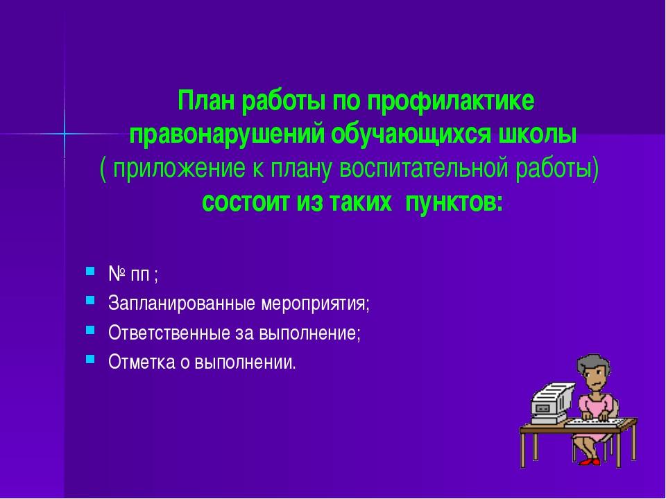 План работы по профилактике правонарушений обучающихся школы ( приложение к...