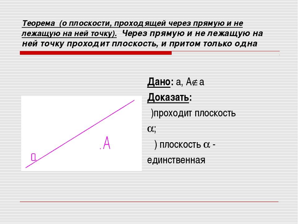 Теорема (о плоскости, проходящей через прямую и не лежащую на ней точку). Чер...