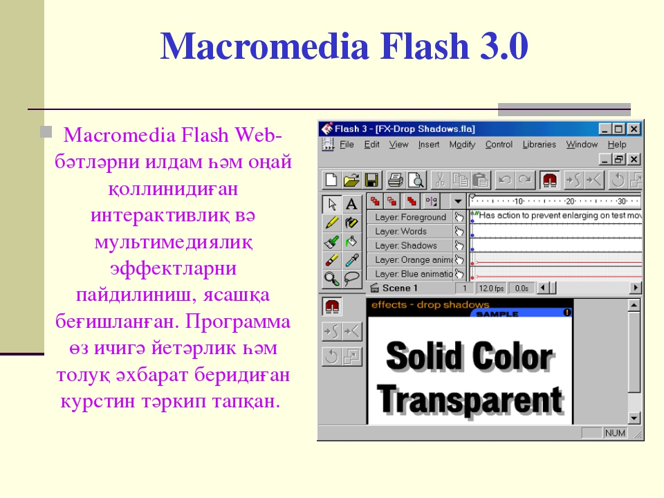 Macromedia Flash 3.0 Macromedia Flash Web-бәтләрни илдам һәм оңай қоллинидиға...