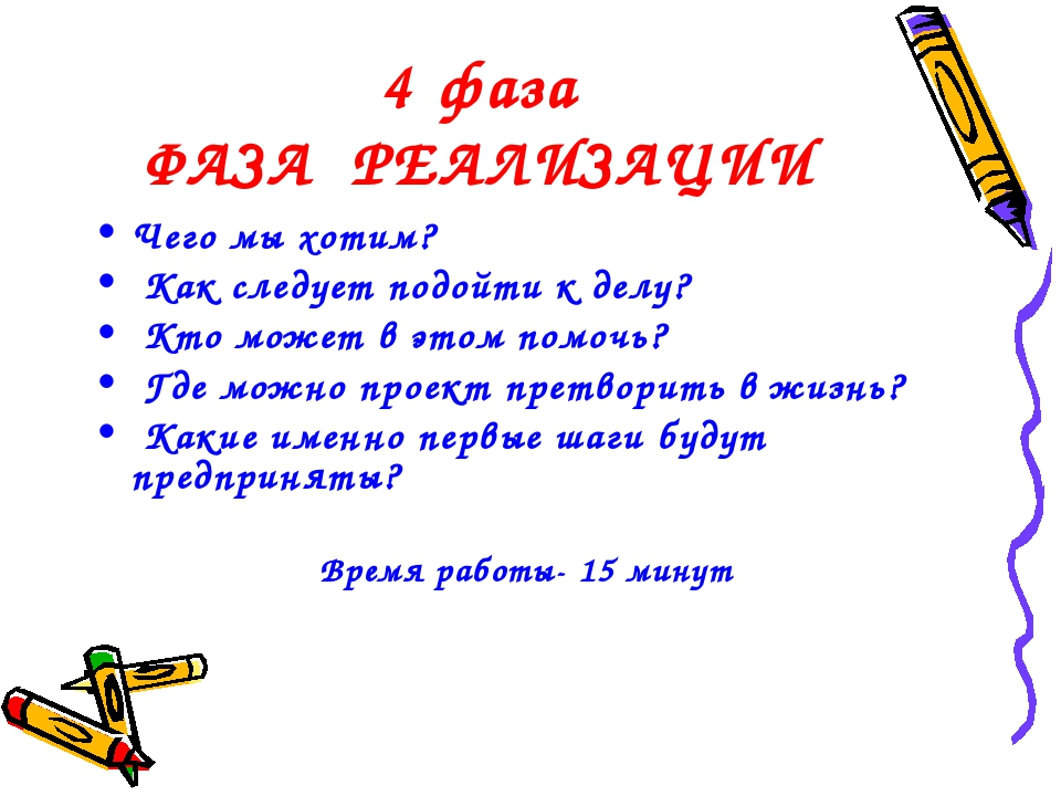 4 фаза ФАЗА РЕАЛИЗАЦИИ Чего мы хотим? Как следует подойти к делу? Кто может в...