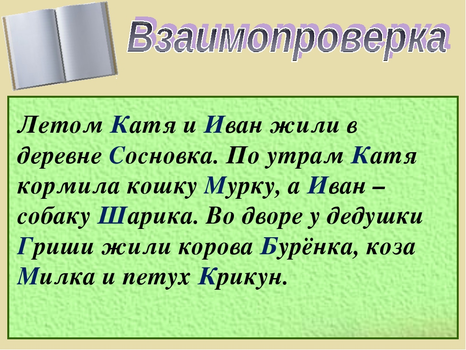 Летом Катя и Иван жили в деревне Сосновка. По утрам Катя кормила кошку Мурку,...