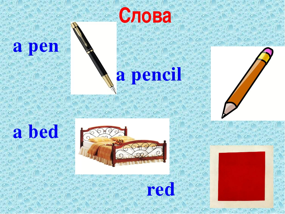 Слова a pen a pencil a bed red