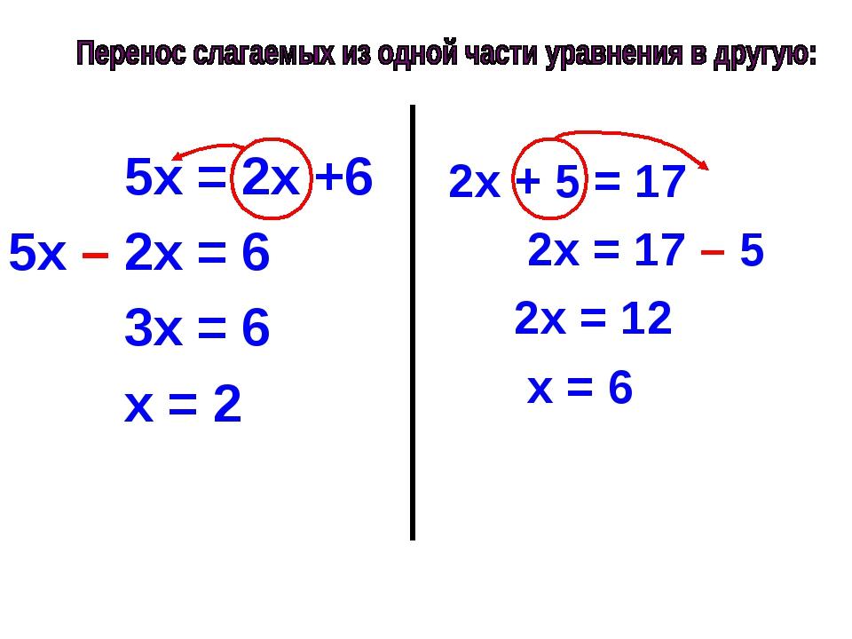5х = 2х +6 5х – 2х = 6 3х = 6 х = 2 2х + 5 = 17 2х = 17 – 5 2х = 12 х = 6