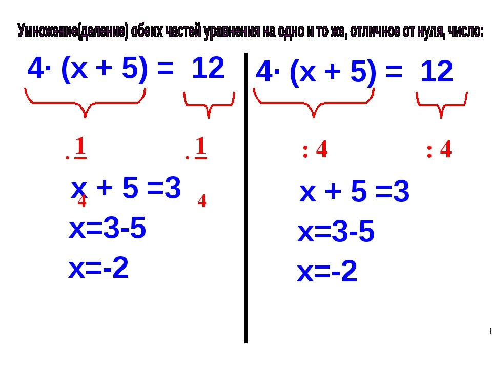 4· (х + 5) = 12 х + 5 =3 х=3-5 х=-2 4· (х + 5) = 12 х + 5 =3 х=3-5 х=-2 : 4 :...