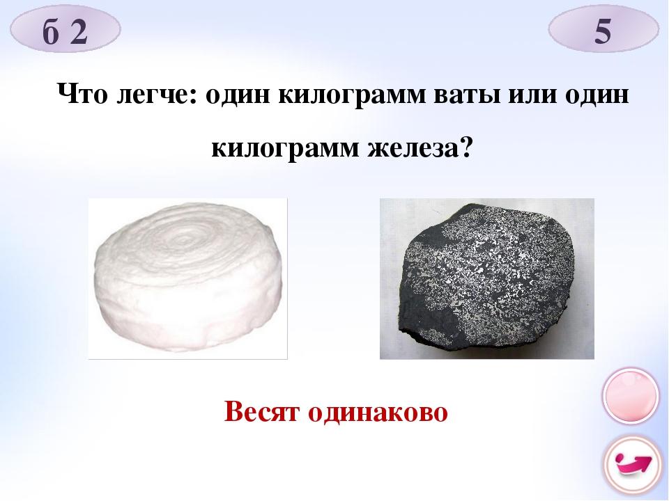 Что легче: один килограмм ваты или один килограмм железа? Весят одинаково б 2 5