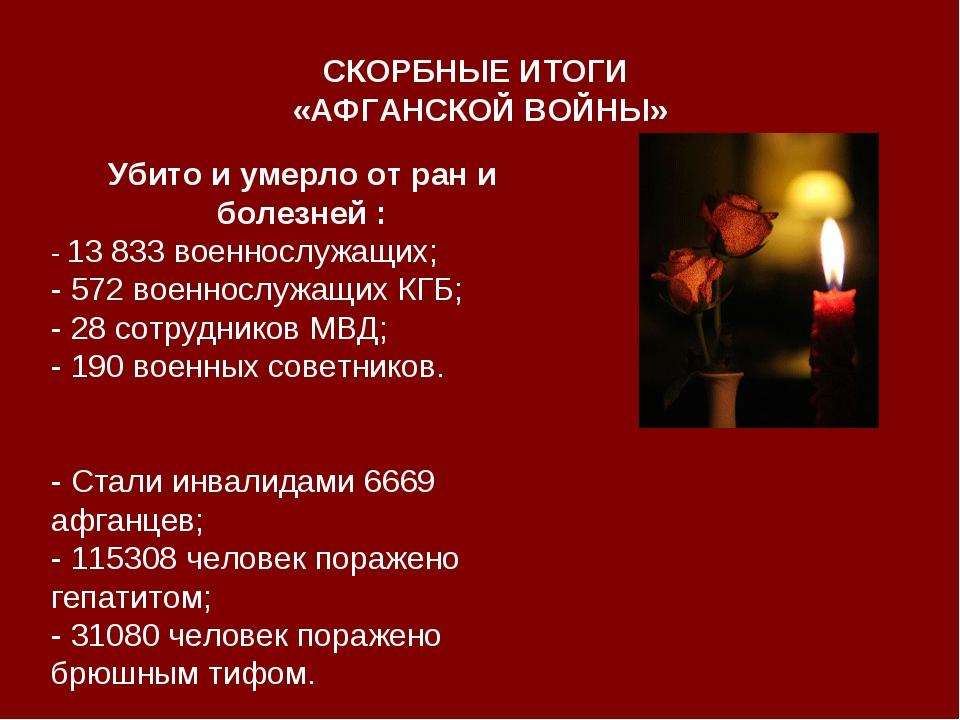 СКОРБНЫЕ ИТОГИ «АФГАНСКОЙ ВОЙНЫ» Убито и умерло от ран и болезней : - 13 833...