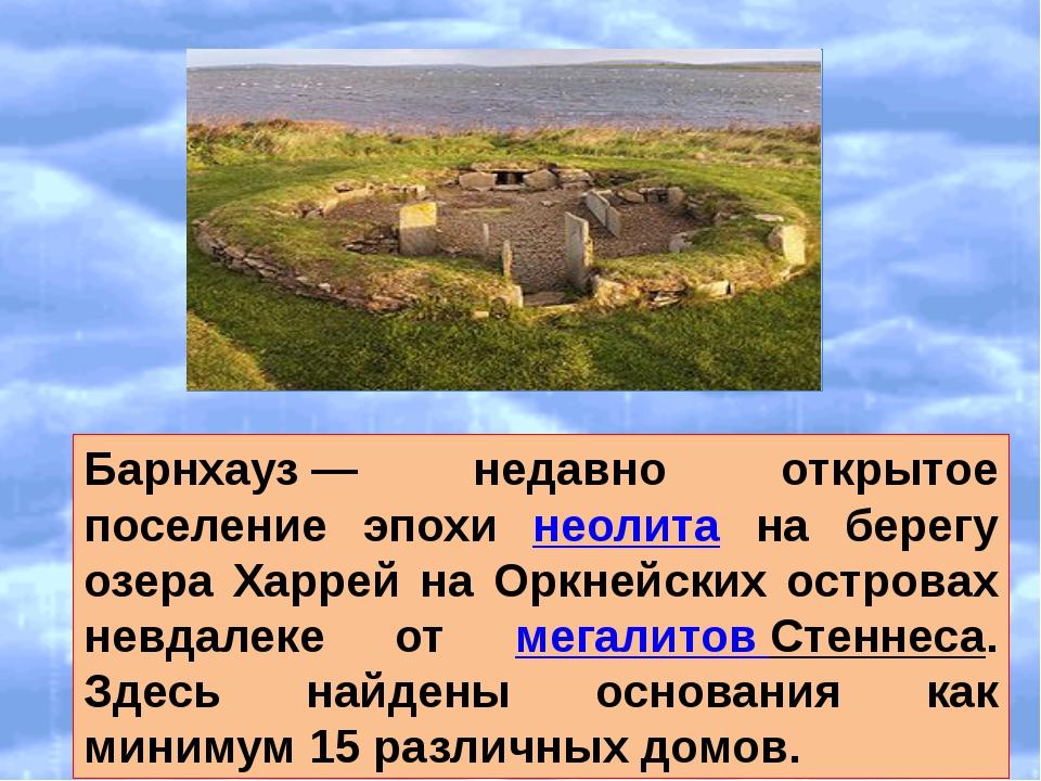 Барнхауз— недавно открытое поселение эпохи неолита на берегу озера Харрей н...
