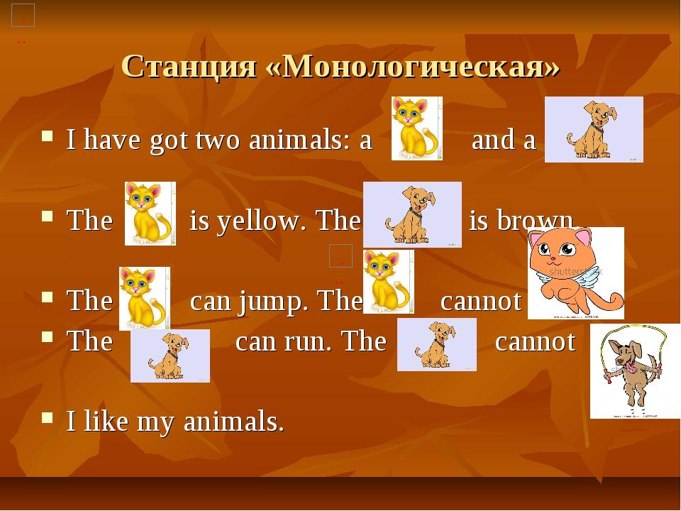 Станция «Монологическая» I have got two animals: a and a The is yellow. The i...