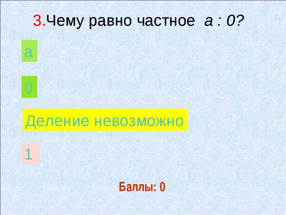 Баллы: 0 а 0 Деление невозможно 1 3.Чему равно частное а : 0?