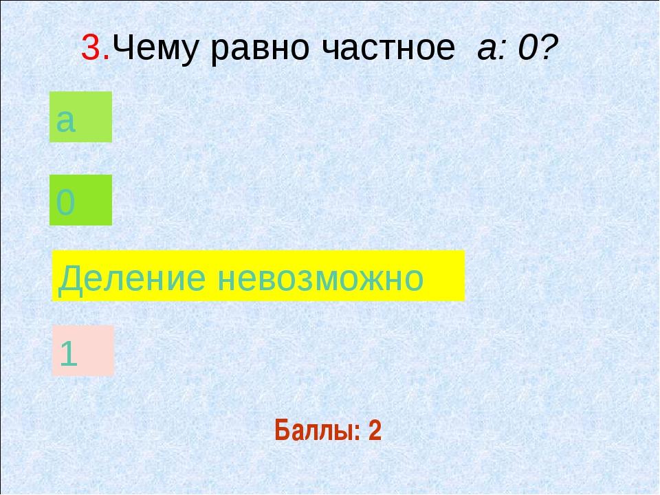 Баллы: 2 а 0 Деление невозможно 1 3.Чему равно частное а: 0?