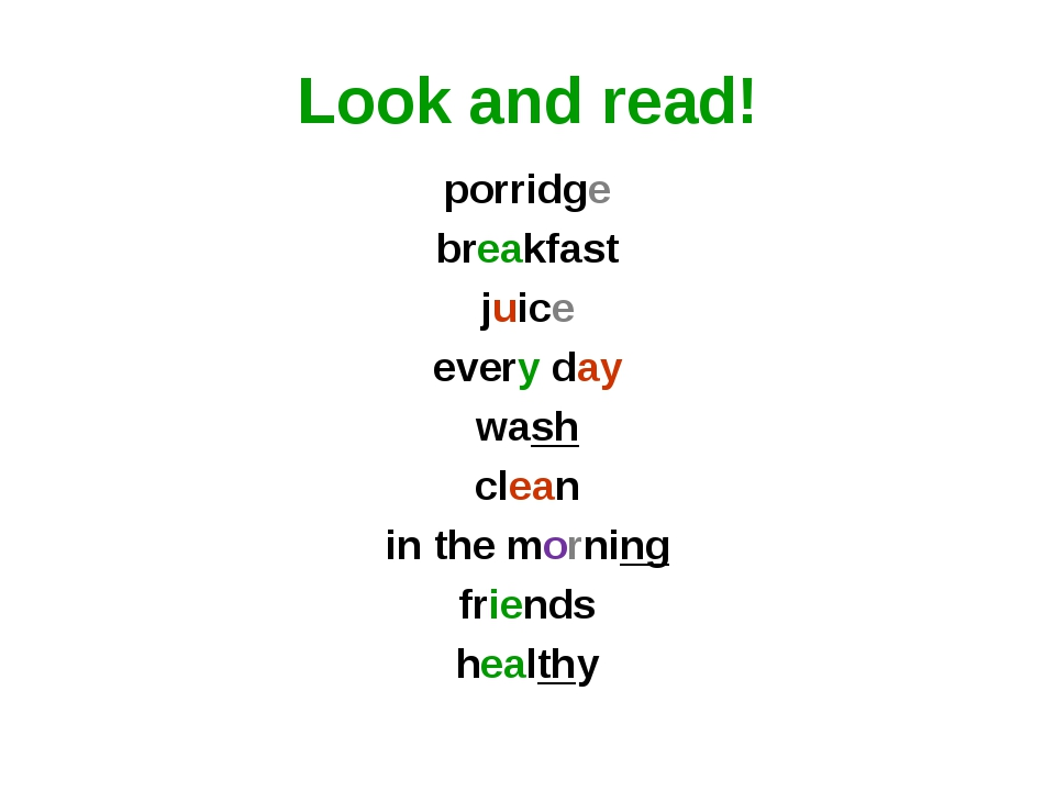 Look and read! porridge breakfast juice every day wash clean in the morning f...