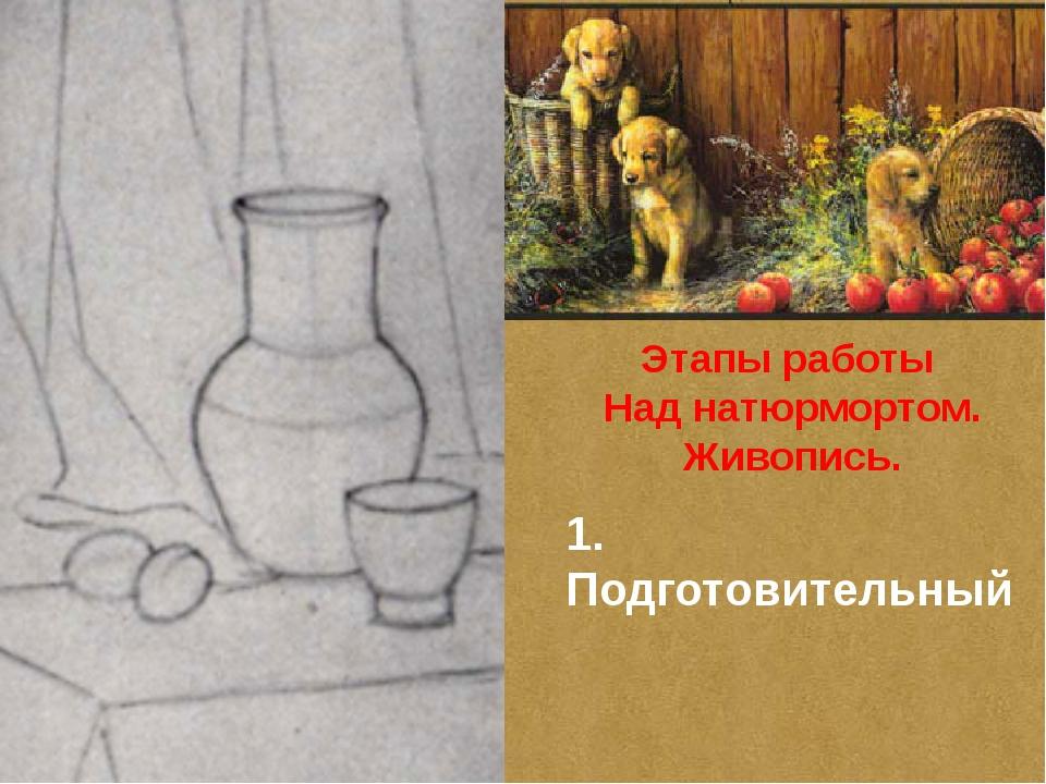 Этапы работы Над натюрмортом. Живопись. 1. Подготовительный