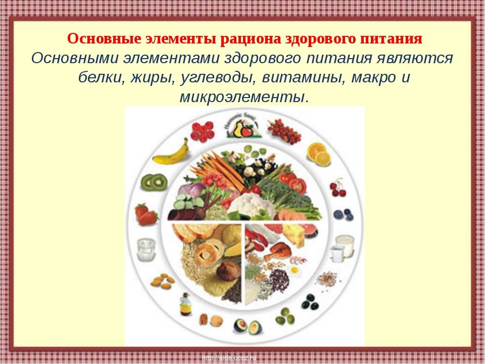 Основные элементы рациона здорового питания Основными элементами здорового пи...