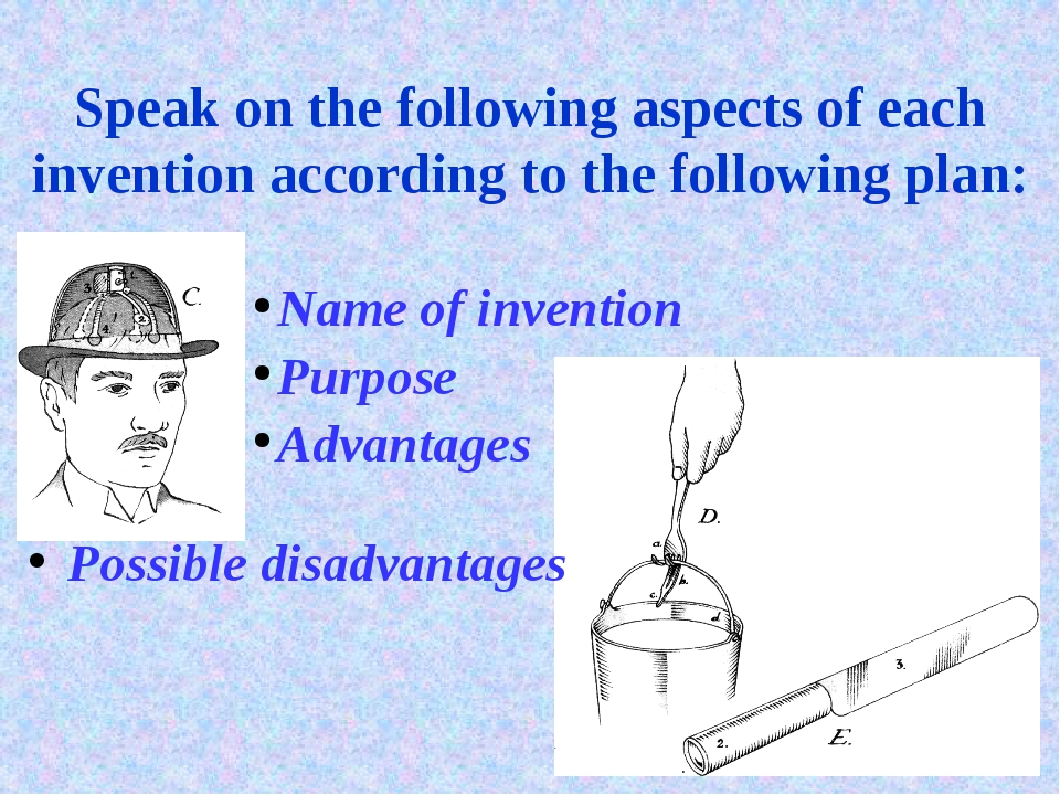 Speak on the following aspects of each invention according to the following p...