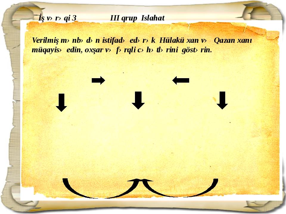 İş vərəqi 3 III qrup Islahat Verilmiş mənbədən istifadə edərək Hülakü xan və...