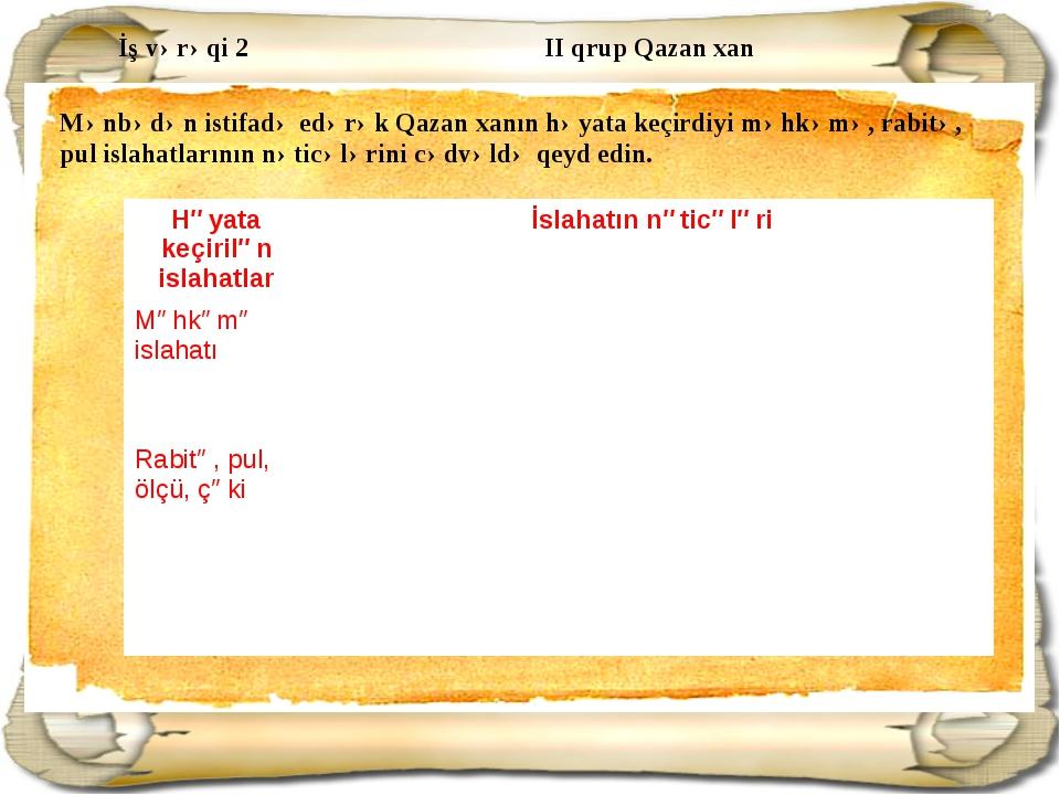 İş vərəqi 2 II qrup Qazan xan Mənbədən istifadə edərək Qazan xanın həyata keç...