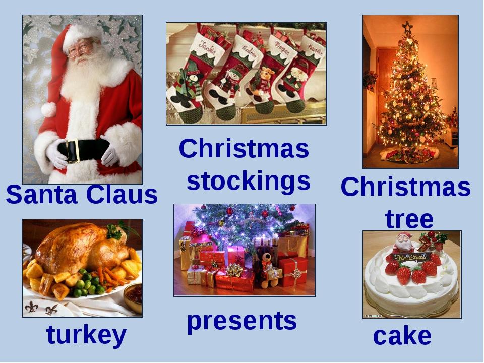 Santa Claus Christmas stockings turkey presents Christmas tree cake