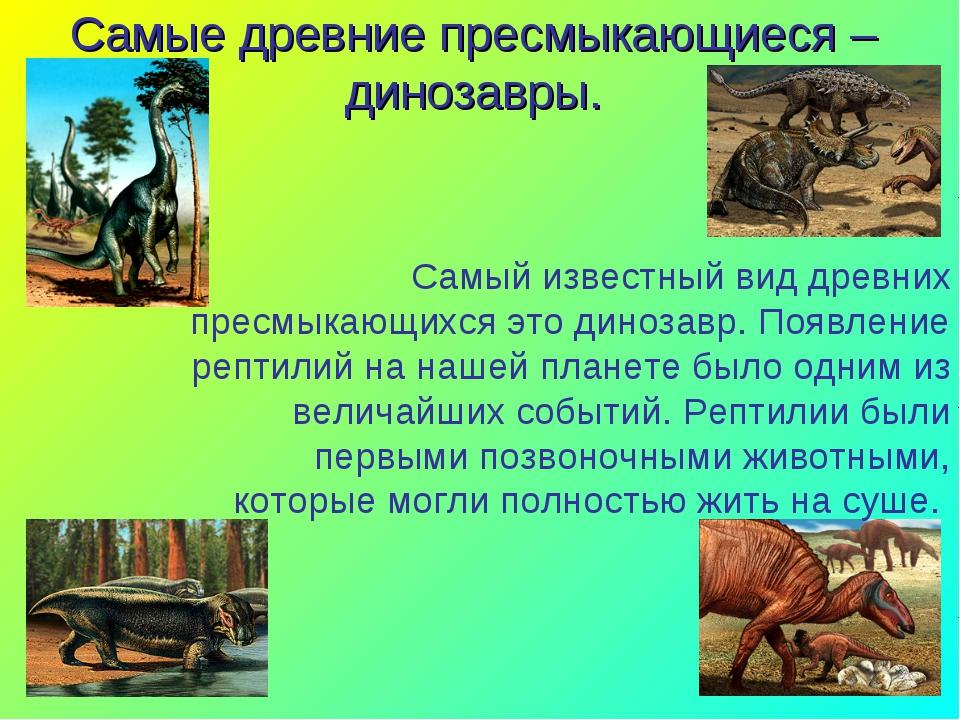 * * Самые древние пресмыкающиеся – динозавры. Самый известный вид древних пре...