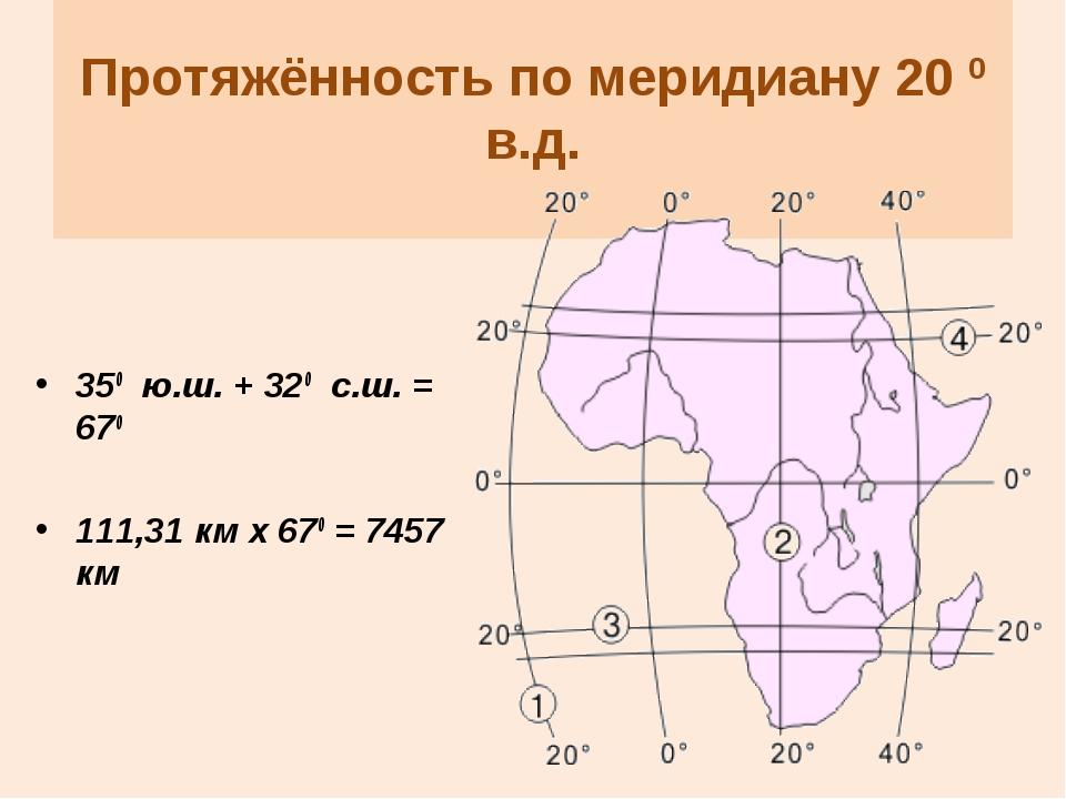 Протяжённость по меридиану 20 0 в.д. 350 ю.ш. + 320 с.ш. = 670 111,31 км х 6...