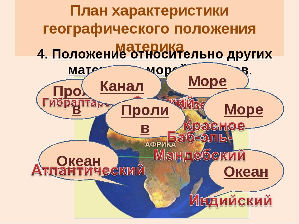 План характеристики географического положения материка 4. Положение относител...