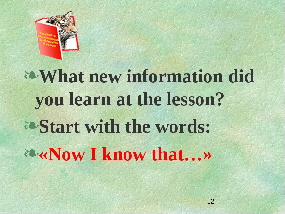 What new information did you learn at the lesson? Start with the words: «Now...