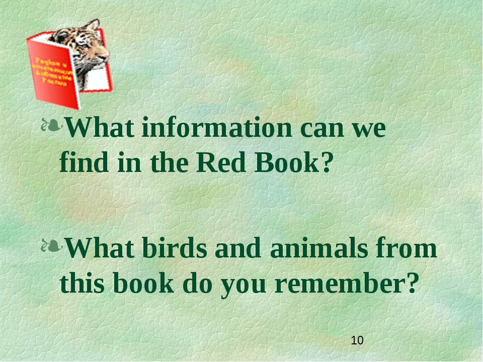 What information can we find in the Red Book? What birds and animals from thi...
