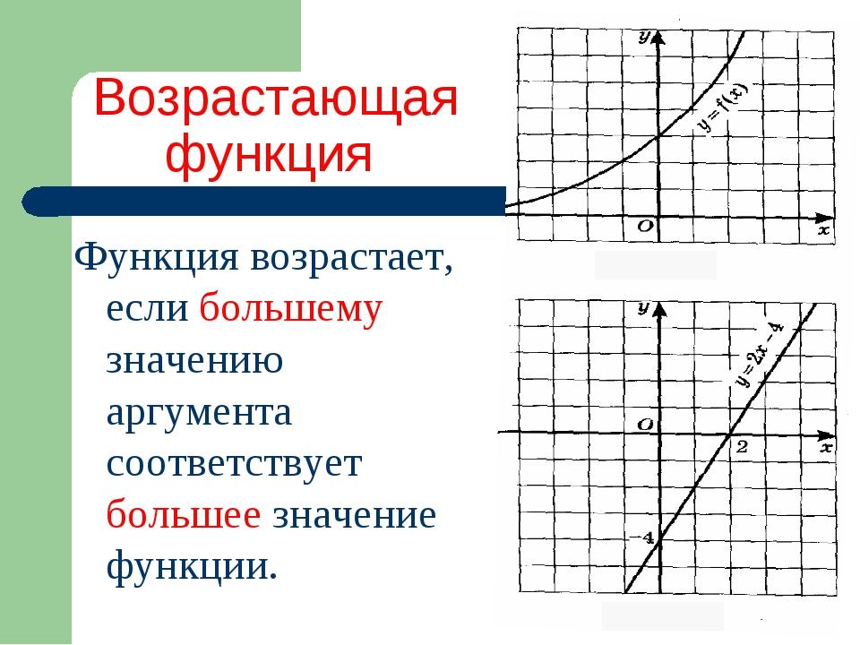 Возрастающая функция Функция возрастает, если большему значению аргумента соо...