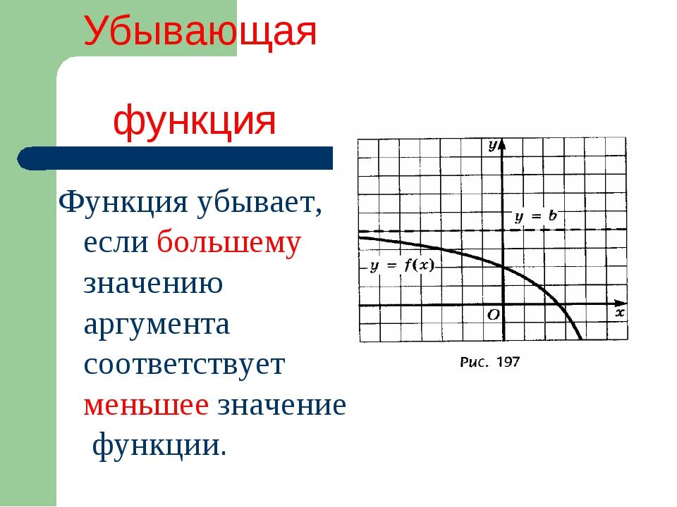 Убывающая функция Функция убывает, если большему значению аргумента соответс...
