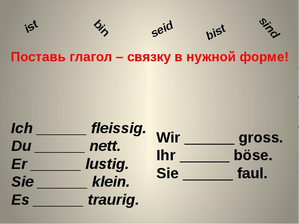 Поставь глагол – связку в нужной форме! Ich ______ fleissig. Du ______ nett....
