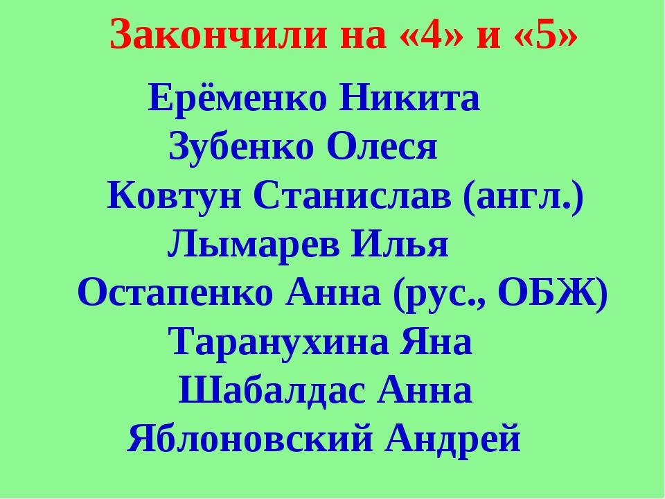 Ерёменко Никита Зубенко Олеся Ковтун Станислав (англ.) Лымарев Илья Остапенк...