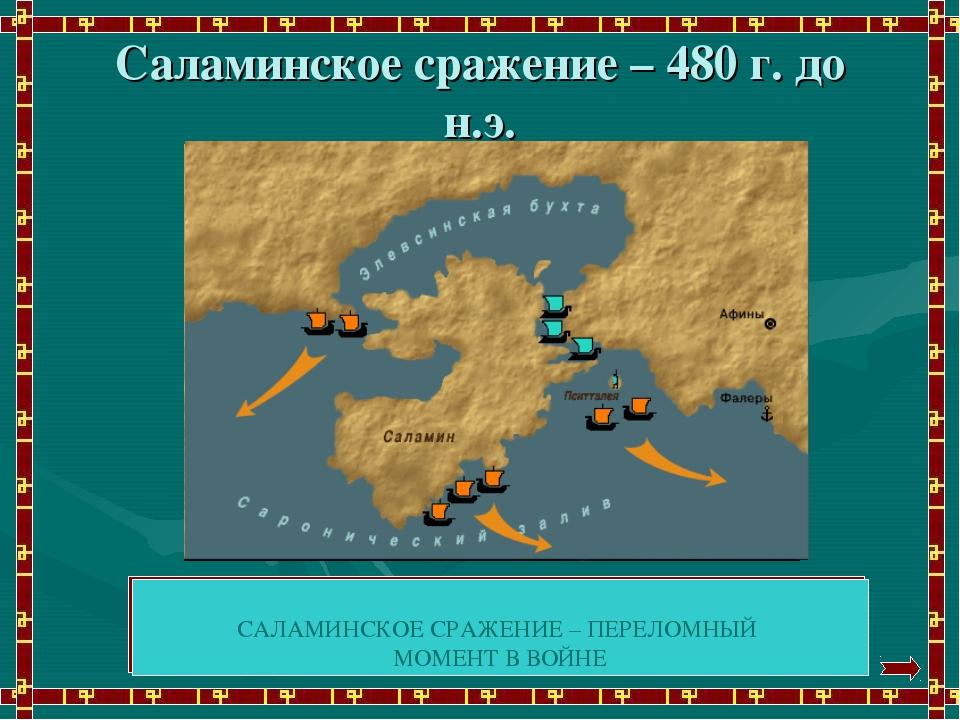Саламинское сражение – 480 г. до н.э. СООТНОШЕНИЕ СИЛ Греки – 380 кораблей Пе...
